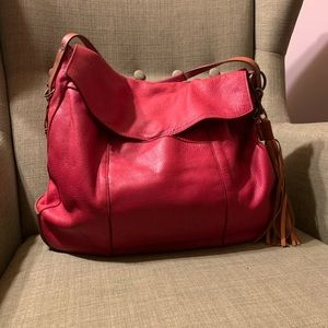 Will leather goods red soft leather hobo bag